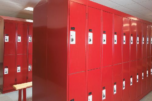 view of a lot of lockers